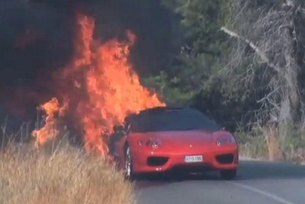 Στις φλόγες η Ferrari του Μπανέγκα (video)