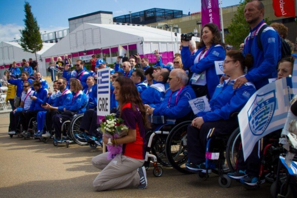 Η τελετή υποδοχής της ελληνικής ομάδας στο Παραολυμπιακό Χωριό (photos)