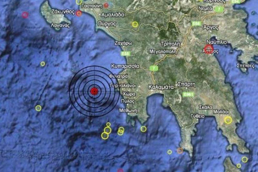 Σεισμός 3,4 Ρίχτερ δυτικά της Πελοποννήσου