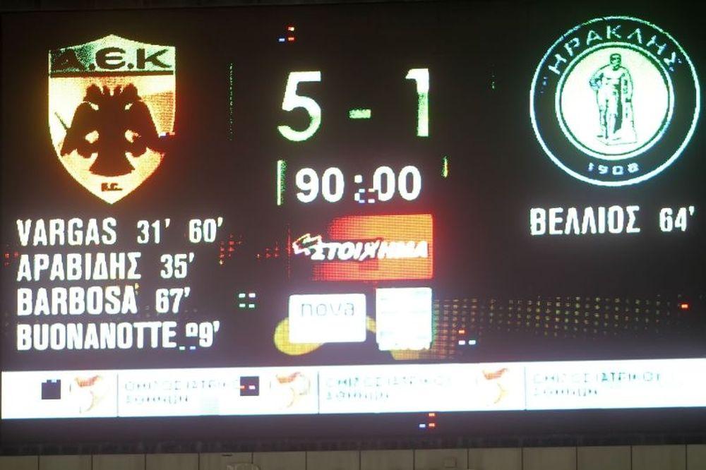 ΑΕΚ-Ηρακλής 5-1: Τα γκολ του αγώνα (video)