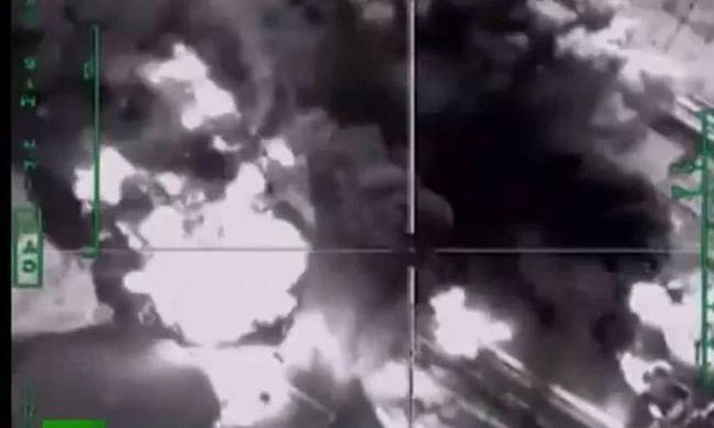 Σοκαριστικό βίντεο με ρωσικά μαχητικά να τινάζουν στον αέρα διυλιστήριο πετρελαίου των τζιχαντιστών! (video)