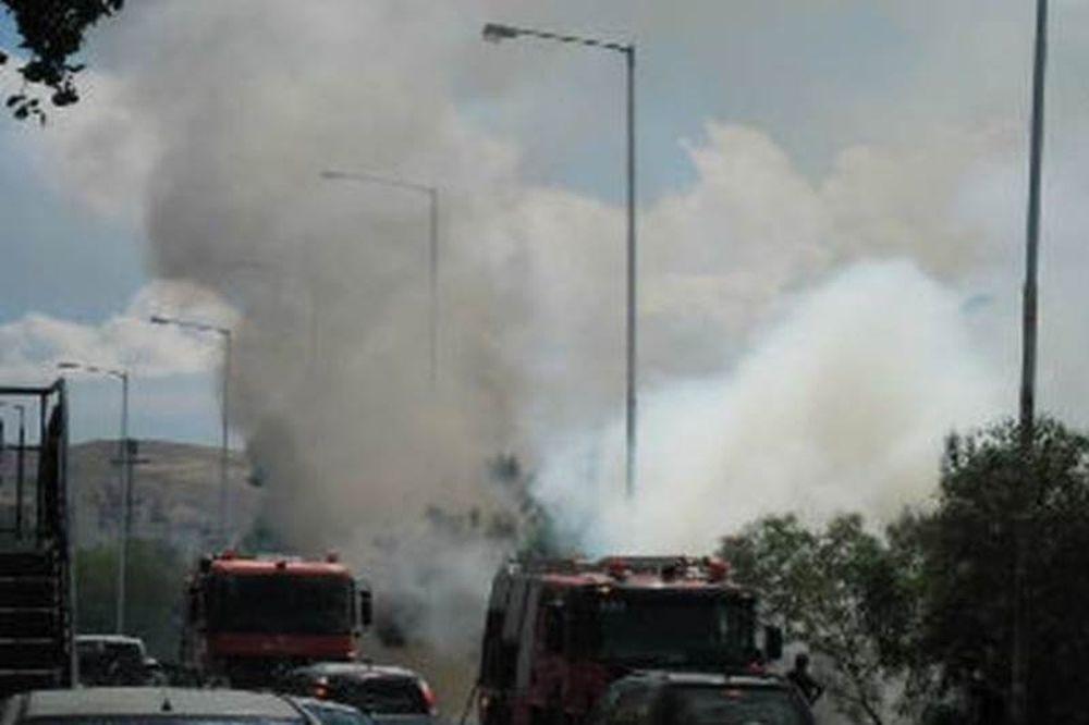 Φωτιά κοντά στην υψηλή γέφυρα της Χαλκίδας (photos)