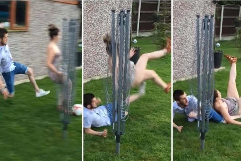 Πήγε να κόψει το πόδι της συντρόφου του με τάκλιν για… πλάκα! (video)