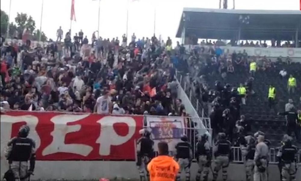 Απίστευτες συμπλοκές οπαδών του Ερυθρού Αστέρα με την αστυνομία! (video)