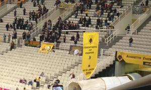 ΑΕΚ: Στην οροφή του ΟΑΚΑ το λάβαρο του Διηπειρωτικού (videos&photos)