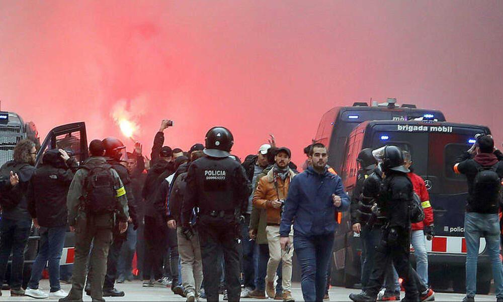 Μπαρτσελόνα – Λιόν: «Πεδίο μάχης» η Βαρκελώνη, πέντε τραυματίες (video+photos)