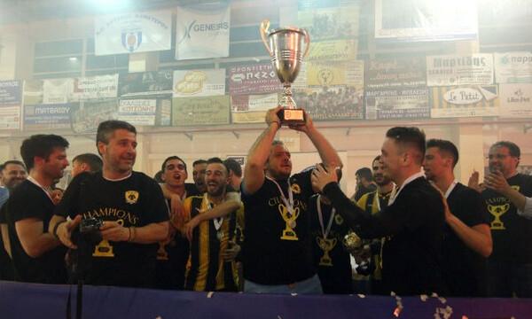 ΑΕΚ: Η πρωταθλήτρια ομάδα ποδοσφαίρου σάλας κάνει γύρο θριάμβου στο ΟΑΚΑ