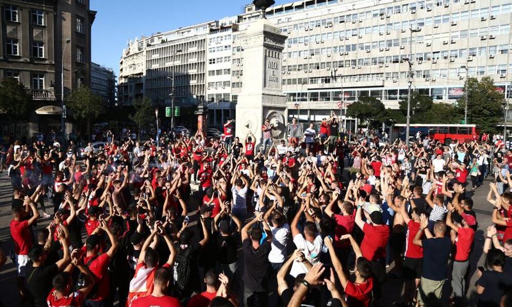 Ερυθρός Αστέρας – Ολυμπιακός: Πάρτι στο Βελιγράδι για Delije και Θύρα 7 (videos+photos)