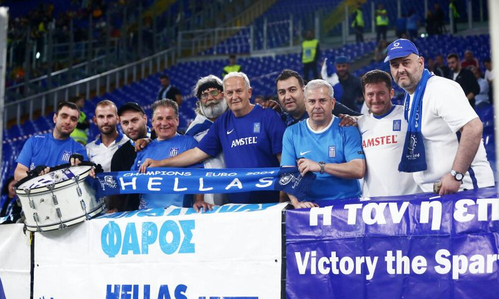 Ιταλία – Ελλάδα: Με... παράγοντα ομάδας της Super League η «γαλανόλευκη» κερκίδα (photos)