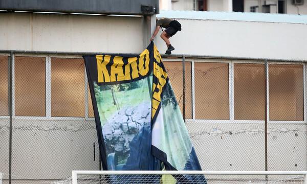 ΑΕΚ-Βόλος: Το πανό των οπαδών της Ένωσης για τον πόλεμο (photos)