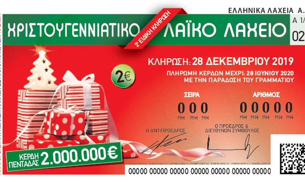 Χριστουγεννιάτικο Λαϊκό Λαχείο: 2 εκατ. ευρώ για τον μεγάλο τυχερό των εορτών