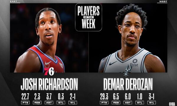 NBA: Παίκτες της εβδομάδας ΝτεΡοζάν και Ρίτσαρντσον