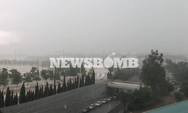 Καιρός ΤΩΡΑ: Δείτε βίντεο και φωτογραφίες από τη σφοδρή καταιγίδα και το χαλάζι στην Αττική