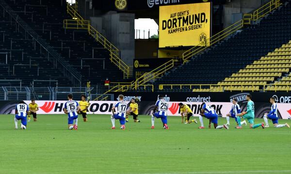 Bundesliga: Μήνυμα για Φλόιντ και ρατσισμό στο Ντόρτμουντ-Χέρτα (video+photos)