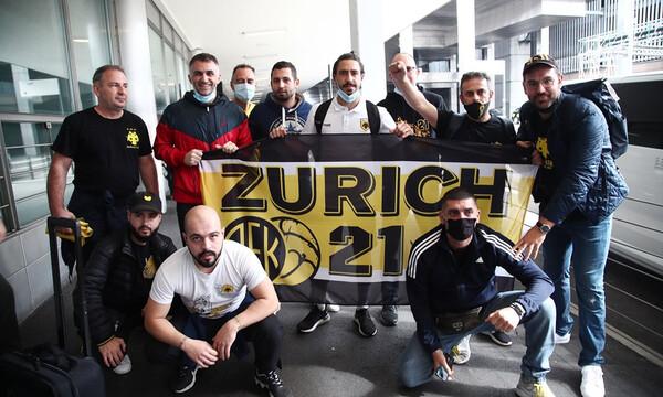 Υποδοχή της αποστολής της ΑΕΚ στη Ζυρίχη (photos+videos)