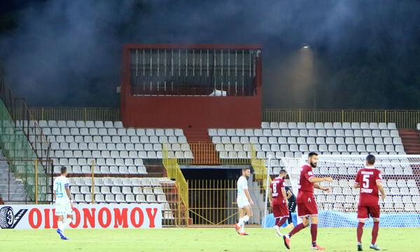 ΑΕΛ-Παναθηναϊκός: Μικρή διακοπή για καπνογόνο στο… άδειο γήπεδο (photos)