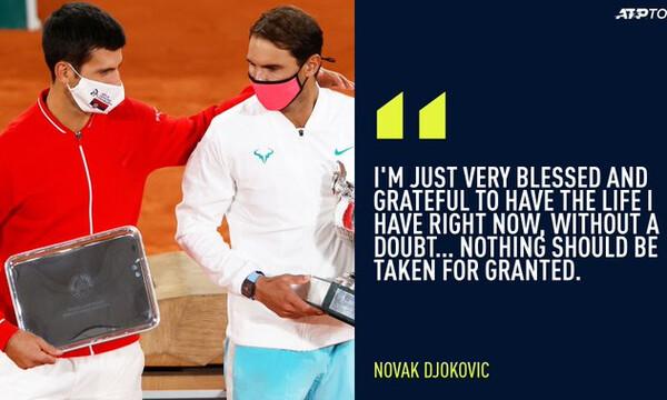 Νόβακ Τζόκοβιτς: «Θαυμάζω τον Ράφα. Ευλογημένος για τη ζωή μου. Τίποτα δεν είναι δεδομένο»!(video)
