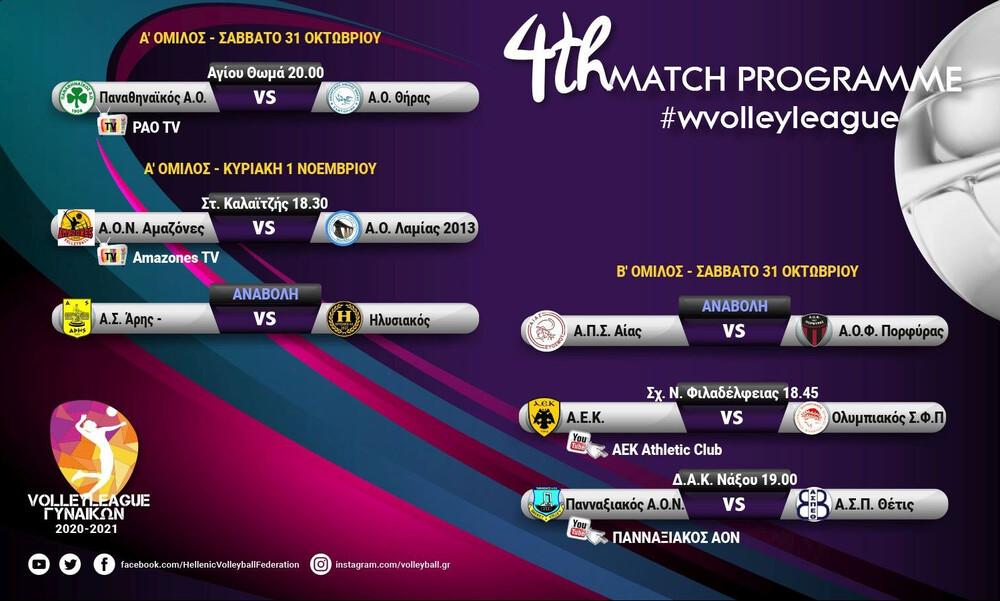 Volley League Γυναικών: Ξεχωρίζουν τα ντέρμπι ΑΕΚ-Ολυμπιακός και Παναθηναϊκός-ΑΟ Θήρας