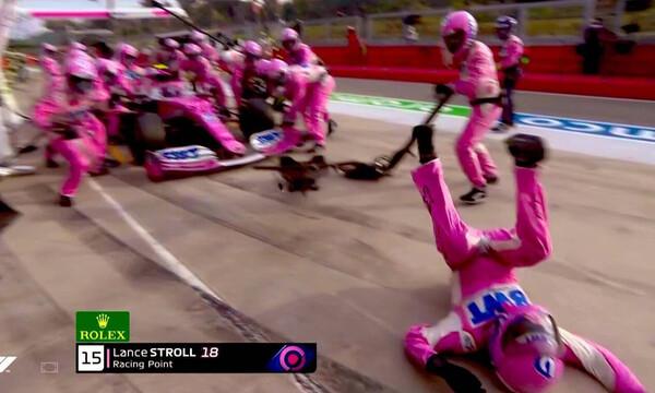 Απίστευτο ατύχημα στη Formula 1: Άργησε να σταματήσει σε pit stop και χτύπησε μηχανικό! (video)