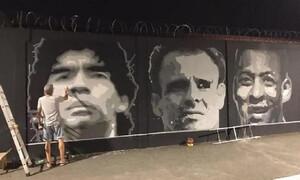 Ντιέγκο Μαραντόνα: Βεβήλωσαν προσωπογραφία στο προπονητικό κέντρο της Σάντος (photos)