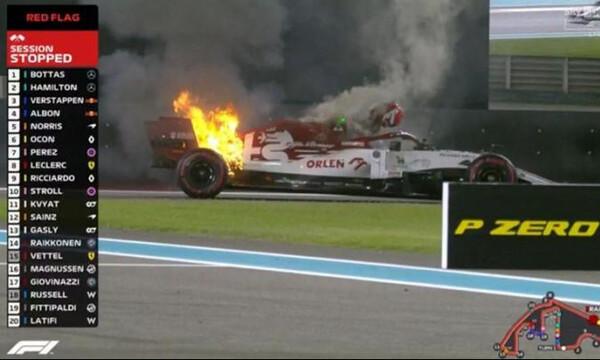 Formula 1: Τρόμος στο Άμπου Ντάμπι, πήρε φωτιά το μονοθέσιο του Ραϊκόνεν (video+photos)