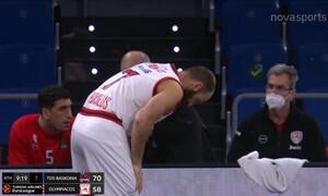 Ολυμπιακός: «Συναγερμός» με Σπανούλη, χτύπησε στο χέρι και αποχώρησε (video)