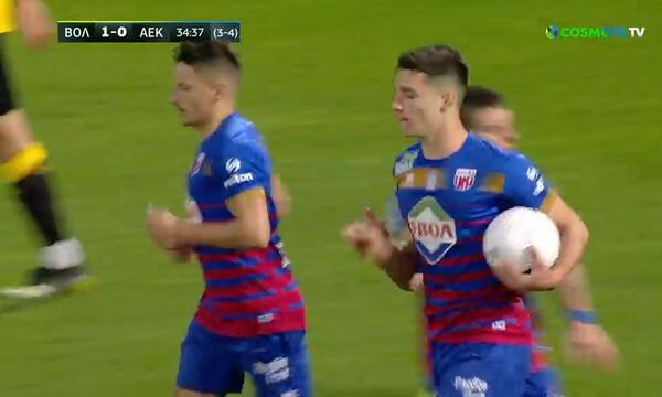 ΝΠΣ Βόλος-ΑΕΚ: Πέναλτι του Δουβίκα και 1-0 - «Μπουρλότο» για την πρόκριση! (video)