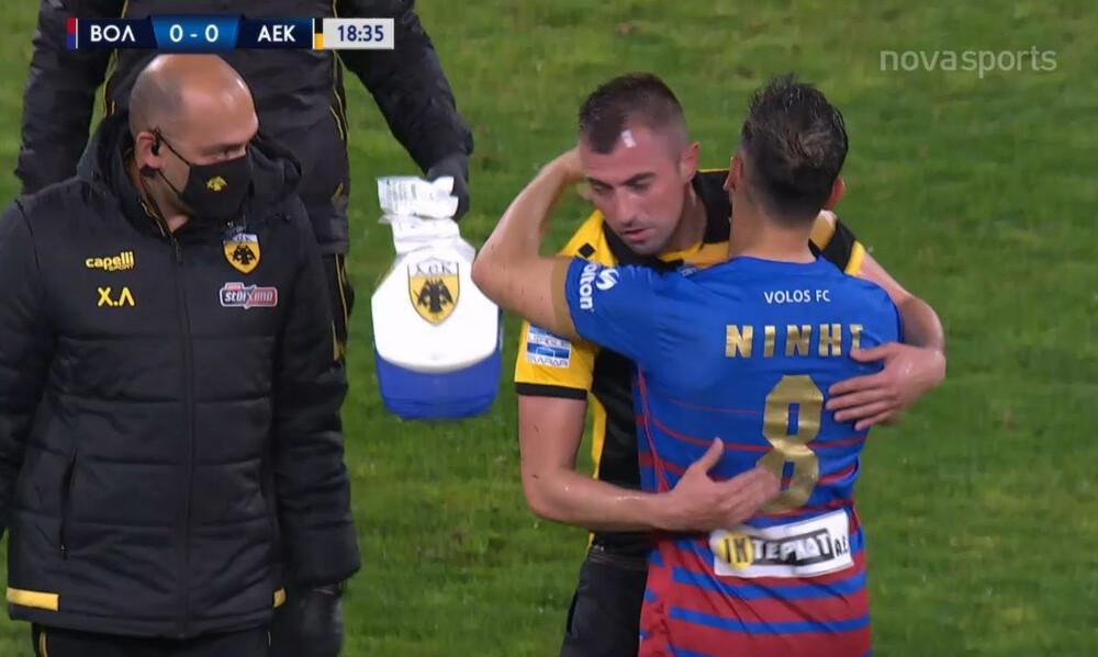 Βόλος-ΑΕΚ: «Πάγωσαν» με Νίνη-Κρίστισιτς - Η στιγμή του τραυματισμού