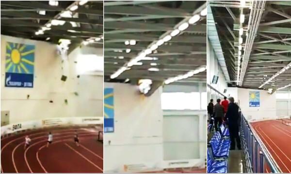 Κατάρρευση οροφής σε σχολικούς αγώνες - Σώθηκαν από θαύμα 11χρονοι μαθητές (video)