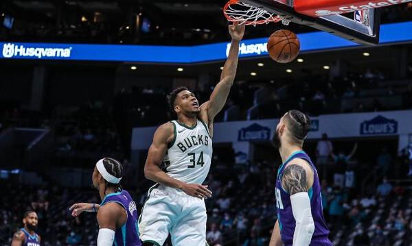 NBA: Ηγετική εμφάνιση Αντετοκούνμπο - Πέρασαν από τη Σάρλοτ οι Μπακς (video)
