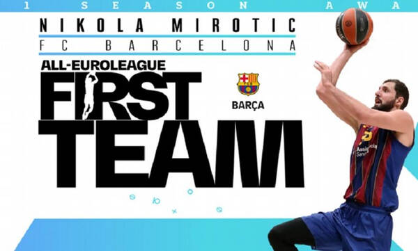 Euroleague: Στην καλύτερη 5άδα ο Μίροτιτς