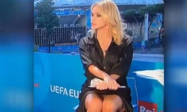 Euro 2020: Παρουσιάστρια είχε ατύχημα αλά… Σάρον Στόουν και έγινε viral (photos+video)