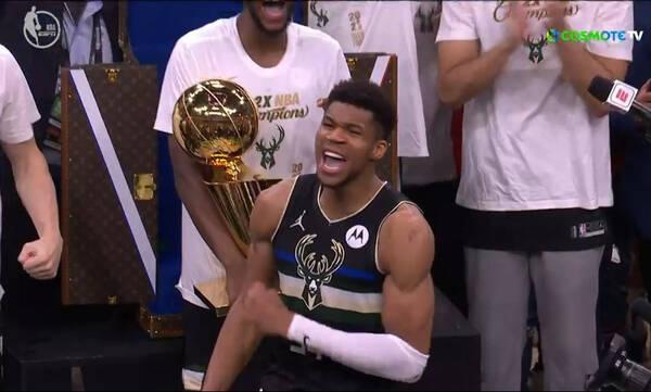 NBA: Ο Γιάννης Αντετοκούνμπο MVP των τελικών - Η κραυγή του (video)