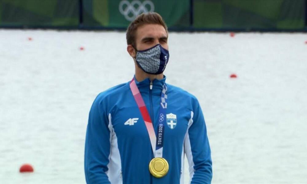 Ολυμπιακοί Αγώνες-Κωπηλασία: Το χρυσό στο λαιμό του Ντούσκου και ο Εθνικός Ύμνος (photos+video)