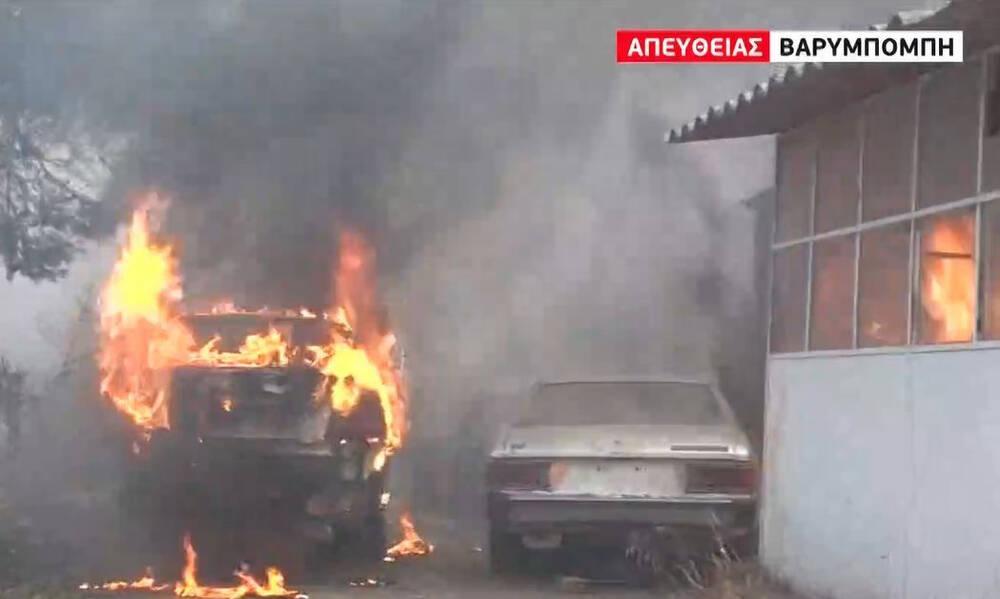 Φωτιά στη Βαρυμπόμπη - Στάχτη περιουσίες και αυτοκίνητα (video)
