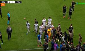 Europa League: Ένταση στην Φρανκφούρτη - Πιάστηκαν στα χέρια στο Άιντραχτ-Φενέρ (video+photos)