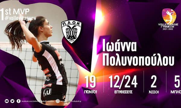 Volley League Γυναικών: Η Ιωάννα Πολυνοπούλου MVP της Πρεμιέρας