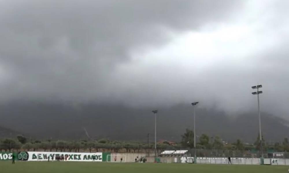 Παναθηναϊκός: Το βροχερό σκηνικό στο Κορωπί (Videos)