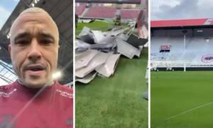 Τρομερές ζημιές στο γήπεδο της Αντβέρπ: Ισχυροί άνεμοι ξήλωσαν το στέγαστρο (photos+video)